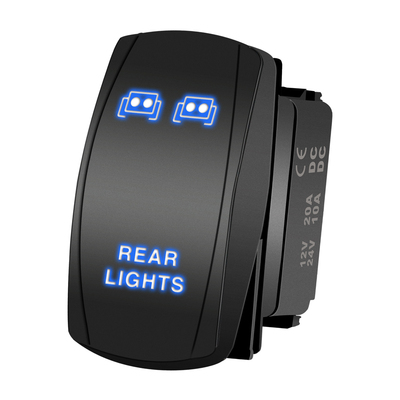 LJ34 Blue ROCK LIGHTS Rocker Switch Kit- On/Off Blue LED Light 20A 12V, 5pin