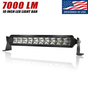10 Inch LED Off Road Light Bar Single Row - IP68&IP69K Waterproof Spot Flood Comb Lights