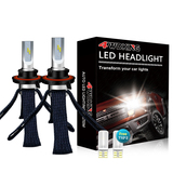 H13(9008) Copper Braid LED Headlight Bulbs - Super Bright High/Low Beam Conversion Kit with T10 x2